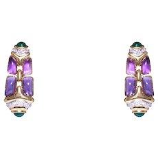 18k Yellow Gold Amethyst, Emerald, And Diamond Drop Earrings