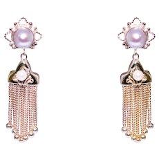Mid Century 14k Yellow Gold Pearl Tassel Earrings