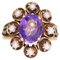 Antique 14k Yellow Gold Amethyst And Seed Pearl Ring