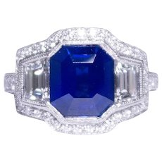 Three Stone Cluster Style Platinum Sapphire And Diamond Ring