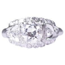 Retro 14k White Gold Diamond Engagement Ring