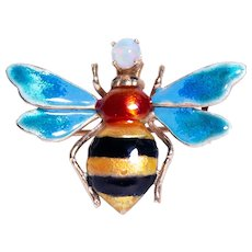 Mid Century 14k Yellow Gold Opal and Enamel Bee Brooch