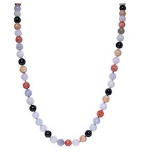 Gumps 14k Yellow Gold Multi-color Jade Bead Necklace