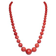 Antique 14k Yellow Gold Coral Bead Necklace