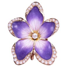 Antique 14k Yellow Gold Enamel, Diamond, and Seed Pearl Brooch