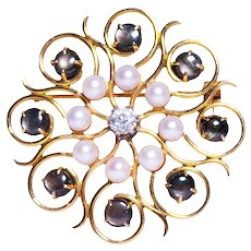 Antique 14k Yellow Gold Star Sapphire, Pearl, and Diamond Brooch