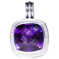 David Yurman Silver Amethyst and Diamond Pendant