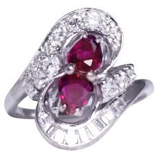 Mid Century 18k White Gold Ruby and Diamond Ring