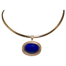 14k Yellow Gold Lapis Necklace