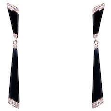 14k Yellow Gold Onyx and Diamond Earrings