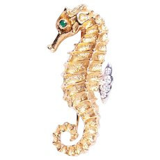 Tiffany and Co. 18k Yellow Gold Emerald and Diamond Seahorse Brooch