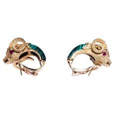 18k Yellow Gold Malachite Ruby and Diamond Rams Head Earrings