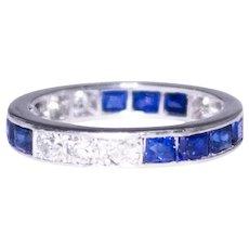 Art Deco Platinum Sapphire and Diamond Band