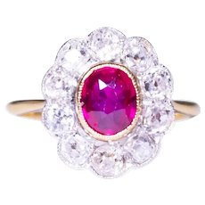 Edwardian 14k Yellow Gold and Platinum Ruby and Diamond Ring