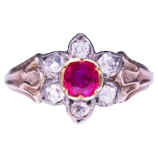 Georgian Silver and Gold Ruby and Diamond Ring