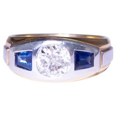 Art Deco Gents 18k Yellow Gold and Platinum Diamond and Sapphire Ring