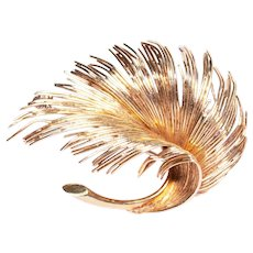 Tiffany & Co 18k Yellow Gold Feather Brooch