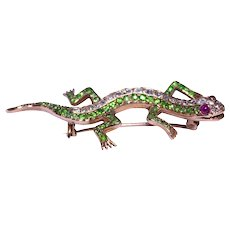 Antique Silver over Gold Demantoid Garnet Ruby and Diamond Lizard Brooch