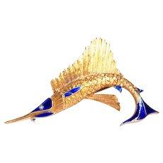 18k Yellow Gold Enamel and Diamond Swordfish Brooch