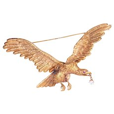 Antique 18k Yellow Gold Eagle Brooch