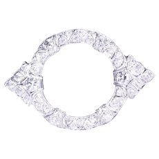 Art Deco Platinum Diamond Circle Brooch