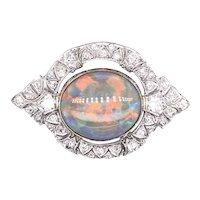 Art Deco platinum opal diamond circle brooch.