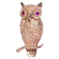 14k Yellow Gold ruby Owl Brooch