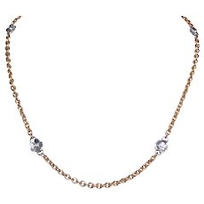 18k Yellow And White Gold Diamond Chain Floral Necklace