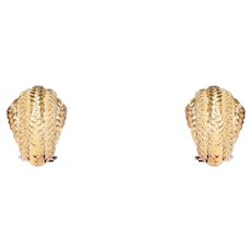 18k Yellow Gold Mesh Dome Shell Clip Earring