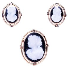 14k Yellow Gold Hardstone Cameo Brooch and Earring Set