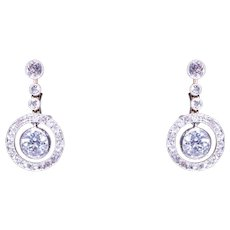 Edwardian Platinum over Gold Diamond Drop Earrings