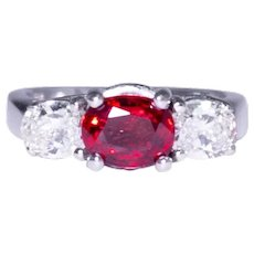 14k White Gold Three Stone Ruby and Diamond Ring