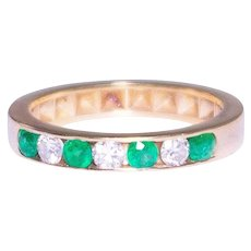 14k Yellow Gold Emerald and Diamond Band