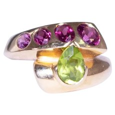 14k Yellow Gold Tourmaline and Peridot Ring