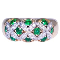 "18k Yellow Gold and Platinum ""Birks"" Emerald and Diamond Band"