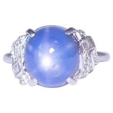 Art Deco Platinum Star Sapphire And Diamond Ring