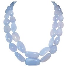 "18k White Gold ""Mish"" Chalcedony Necklace"