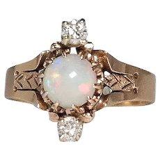 Antique 14k Yellow Gold Opal & Diamond Ring