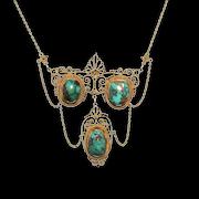 Edwardian 14k Yellow Gold Turquoise Necklace