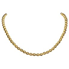 Antique 14k Yellow Gold Beaded Necklace