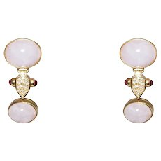14k Yellow Gold Pink Quartz, Ruby and Diamond Drop Earrings