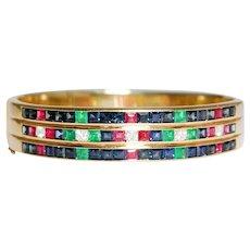 18K Yellow Gold Sapphire, Ruby, Emerald and Diamond Bangle Bracelet