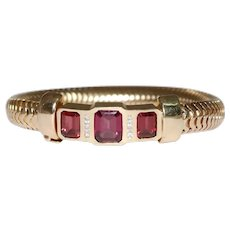 Retro 14K Yellow Gold Garnet and Diamond Snake Link Bracelet