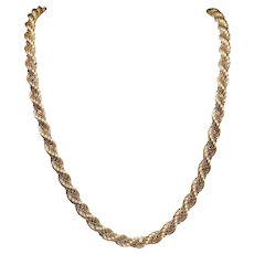 14K Yellow and White Gold Long Rope Chain