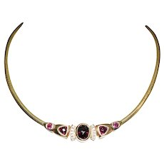 14K Yellow Gold Slide Garnet and Diamond Necklace