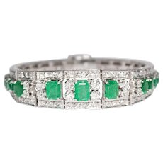 Mid-Century 18K White Gold Emerald and Diamond Bracelet
