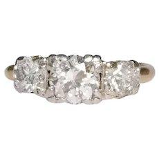Retro 14K Yellow Gold and Platinum Diamond Engagement Ring