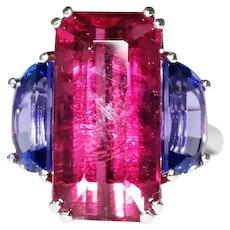 Platinum Pink Tourmaline and Tanzanite Ring