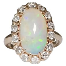 Antique 14k Yellow Gold Opal and Diamond Ring