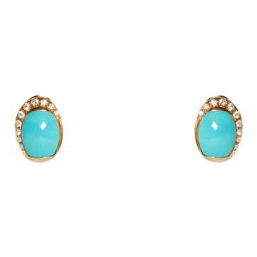 18K Yellow Gold Turquoise and Diamond Clip on Earrings